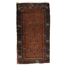"""Fine Vintage Persian Balouch Tribal Rug, Hand Knotted, Circa 1950's, Size 1'8""""x2'11"""""""