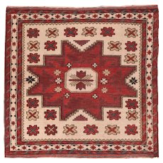 Fine Vintage Turkish Tribal Wool on Wool Circa 1970, SIZE: 3'7'' x 3'3''