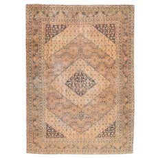 Antique Rust Tabriz Persian Area Rug Wool Circa 1890, SIZE: 6'9'' x 10'2''