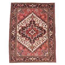 Semi Antique Rust Heriz Persian Area Rug Wool Circa 1930, SIZE: 5'0'' x 8'3''
