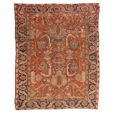 Antique Rust Serapi Persian Area Rug Wool Circa 1900, SIZE: 8'7'' x 10'10''