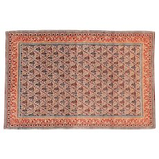 """Extremly Fine Persian Qum Rug Wool Hand Knotted Circa 1930, Size 4'0"""" x 7'0"""""""