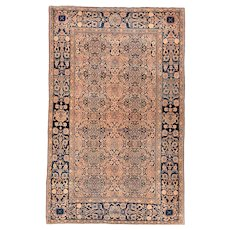 "Fine Antique Persian Mohtasham Kashan Hand Knotted Circa 1890, Size: 4'3"" x 6'8"""