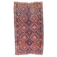 Antique Rust Quashkai / Ghashkai Persian Area Rug Wool Circa 1920, SIZE: 4'8'' x 8'5''