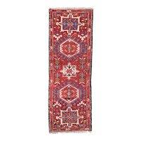 Semi Antique Persian Heriz Area Rug Wool Circa 1940, SIZE: 2'0'' x 5'8''