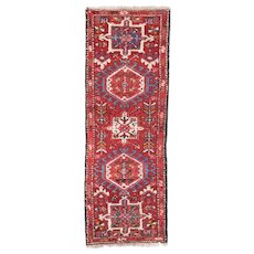 Semi Antique Persian Heriz Area Rug Wool Circa 1940, SIZE: 2'0'' x 5'8''