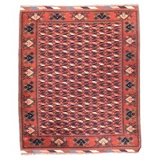 Semi Antique Red Afghani Afghanistan Area Rug Wool Circa 1930, SIZE: 5'3'' x 6'4''