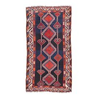 Antique Red Lori Persian Area Rug Wool Circa 1920, SIZE: 4'2'' x 8'7''