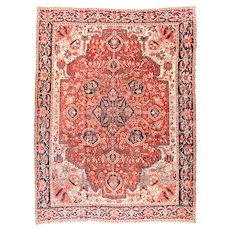 Antique Red Heriz Persian Area Rug Wool Circa 1910, SIZE: 11'8'' x 15'8''