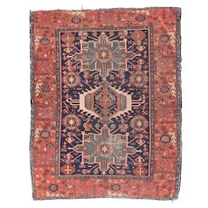 Antique Rust Karajeh Persian Area Rug Wool Circa 1910, SIZE: 4'10'' x 6'3''