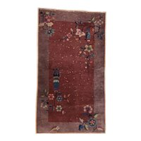 Antique Burgundy Chinese Nickel Area Rug Wool Circa 1920, SIZE: 2'5'' x 4'5''