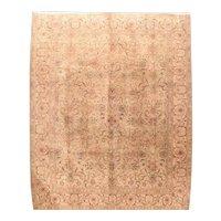 Vintage Ivory Tabriz Persian Area Rug Wool Circa 1930, SIZE: 10'2'' x 12'10''