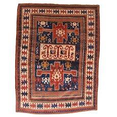 "Fine Antique kazak Borcholo Russian Rug, Hand Knotted, Circa 1880, Size 4'9'' X 6'3"""