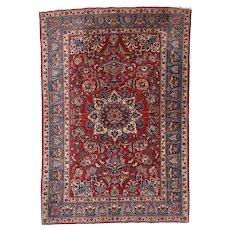 "Extremly Fine Antique Toudeshk Nain Persian Rug, Hand Knotted, Circa 1910, Wool & Silk, Size 3'6"" x 5'2"""
