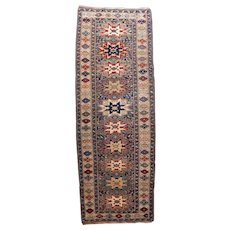 Antique Ivory Shirvan Russian Area Rug Wool Circa 1890, SIZE: 4'1'' x 11'4''