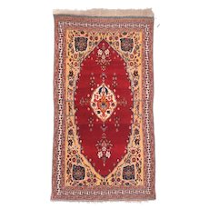 Antique Red Qushkai Persian Area Rug Silk & Wool Circa 1890, SIZE: 2'10'' x 5'5''