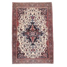 Antique Ivory field Farahan Sarouk Persian Area Rug Wool Circa 1890, SIZE: 4'3'' x 6'5''