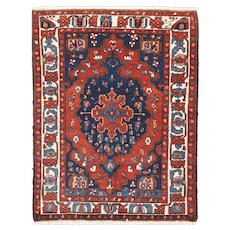Semi Antique Rust Bakhtiari Persian Area Rug Wool Circa 1930, SIZE: 4'9'' x 5'10''