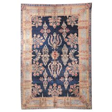 Extremely Fine Antique Navy Persian Farahan Sarouk Area Rug Wool Circa 1910, SIZE: 8'3'' x 11'9''