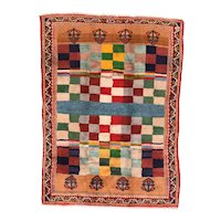 Fine Antique Persian Gabbeh Circa 1920, SIZE: 6'2'' x 8'5''