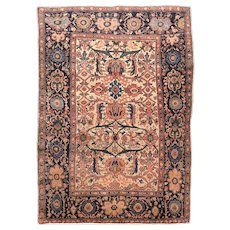 Fine Antique Persian Farahan Sarouk Rug Wool on Cotton Circa 1890, SIZE:  3'4'' x 4'10''