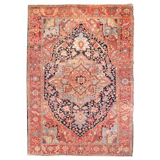 Antique Rust Persian Heriz Serapi Area Rug Wool Circa 1900, SIZE: 9'4'' x 12'5''