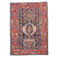 Antique Red Karajeh Persian Area Rug Wool Circa 1890, SIZE: 4'7'' x 6'3''