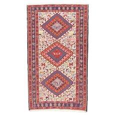 Fine Vintage Persian Soumak Rug Tribal Flat Weave Circa 1970, SIZE: 3'8'' x 6'5''