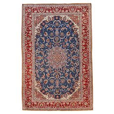 Antique Red Persian Isfahan Area Rug Wool on Silk Foundation Circa 1920, SIZE: 5'1'' x 7'10''