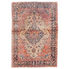 "Extremly Fine Antique Persian Mohtasham Kashan Hand Knotted Circa 1890, Size 4'2"" x 6'10"""