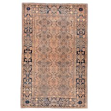 Antique Beige Mohtasham Kashan Persian Area Rug Wool Circa 1890, SIZE: 4'3'' x 6'8''
