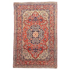"Extremly Fine Antique Persian Isfahan Rug Hand Knotted Circa 1920, Size 4'9"" x 7'10"""