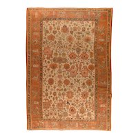 Antique Beige Turkish Oushak Area Rug Wool Circa 1890, SIZE: 9'0'' x 13'5''