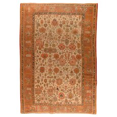 Antique Beige Turkish Oushak Area Rug Wool Circa 1890, SIZE: 9'0'' x 13'5''