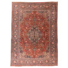 Hand Knotted Persian Kashan Wool Circa 1920, SIZE: 8'10'' x 12'2''