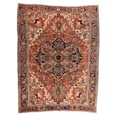 Antique Red Serapi Heriz Persian Area Rug Wool Circa 1910, SIZE 8'9'' x 11'4''