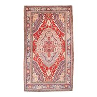 Semi Antique Red Bidjar Persian Area Rug Wool Circa 1930, SIZE: 4'5'' x 7'7''