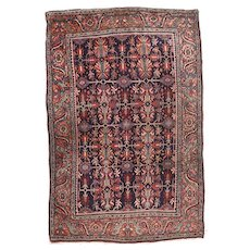 Antique Brown Bidjar Persian Area Rug Wool Circa 1910, SIZE: 4'4'' x 6'4''