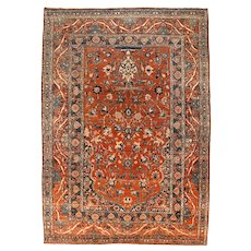 Antique Rust Tabriz Haji Jalili Persian Area Rug Wool Circa 1890, SIZE: 6'3'' x 8'6''