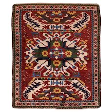 Antique Red Kazak Caucasian Russian Area Rug Wool Circa 1900, SIZE: 5'3'' x 5'11''