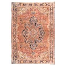 Antique Rust Persian Farahan Sarouk Area Rug Wool Circa 1890, SIZE: 13'2'' x 19'0''