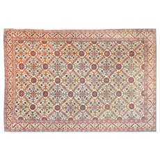 "Extremly Fine Antique Persian Rug Tehran, Hand Knotted, Circa 1920, Size 7''3"" x 10'"
