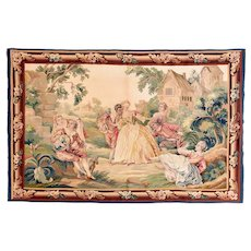 Excellent Green Aubusson French Pictorial Tapestry Area Rug Silk & Wool Circa 1900, SIZE:  3'10'' x 7'0''