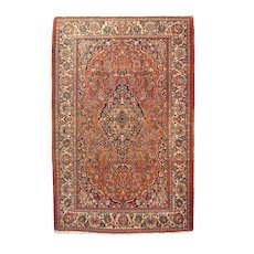 "Fine Semi Antique Vintage Kashan Persian Rug, Hand Knotted, Circa 1930's, Size 4'5"" x 6'9"""