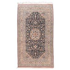Antique Black Persian Nain Area Rug Silk & Wool Circa 1920, SIZE: 5'3'' x 9'5''