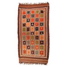 Fine Antique Persian Tribal Flat Weave Kilim Circa 1958, SIZE: 5'7'' x 10'9''