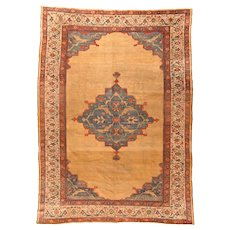 Antique Light Blue Persian Sultanabad Area Rug Wool Circa 1890, SIZE: 10'8'' x 14'9''