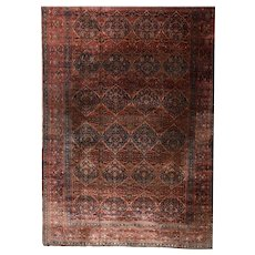 Antique Dark Brown Persian Motashan Kashan Area Rug Wool Circa 1890, SIZE: 13'3'' x 20'4''