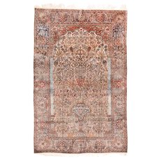 "Extremly Fine Antique Persian Silk On Silk Mohtasham Kashan Hand Knotted Circa 1890, Size 4'4"" x 6'10"""