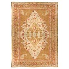 Antique Light Brown Oushak Turkish Area Rug Wool Circa 1920, SIZE: 9'11'' x 13'5''